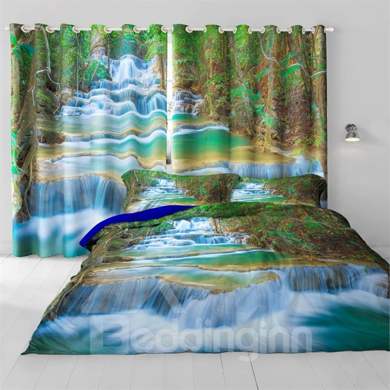 3D Flowing River and Old Forest Printed Natural Scenery Thermal Insulation Custom Curtain
