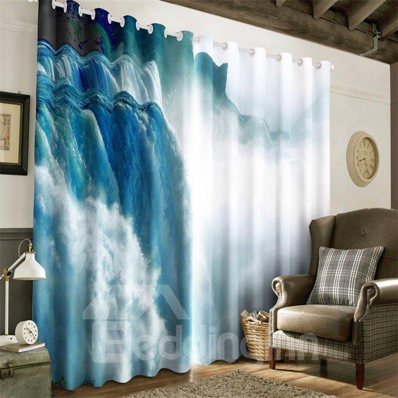 3D Running Waterfalls Printed Natural Scenery 2 Panels Decorative Custom Curtain