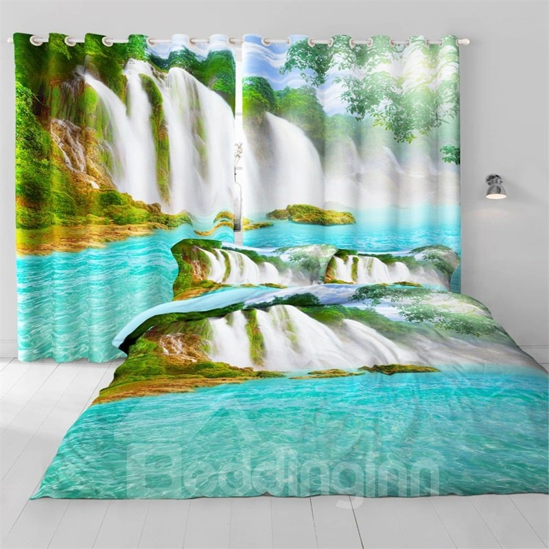 Surging Waterfalls and Green River Printed Living Room and Bedroom Custom Curtain
