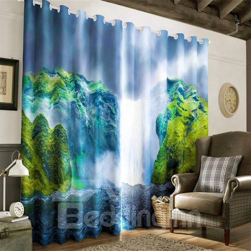 3D Thick Clouds and Surging Waterfalls Printed 2 Pieces Decorative Custom Curtain
