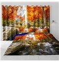 3D Red Leaves and Limpid River Printed Autumn Scenery Custom Window Curtain