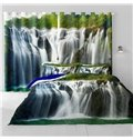 3D Surging Waterfalls and Steep Rocks Printed Natural Scenery Custom Curtain