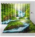 Thick Green Forest and Flowing River Printed 2 Panels Custom Living Room Curtain