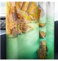 3D Surging Waves and Blue Sky Printed Decorative Custom Window Drapes