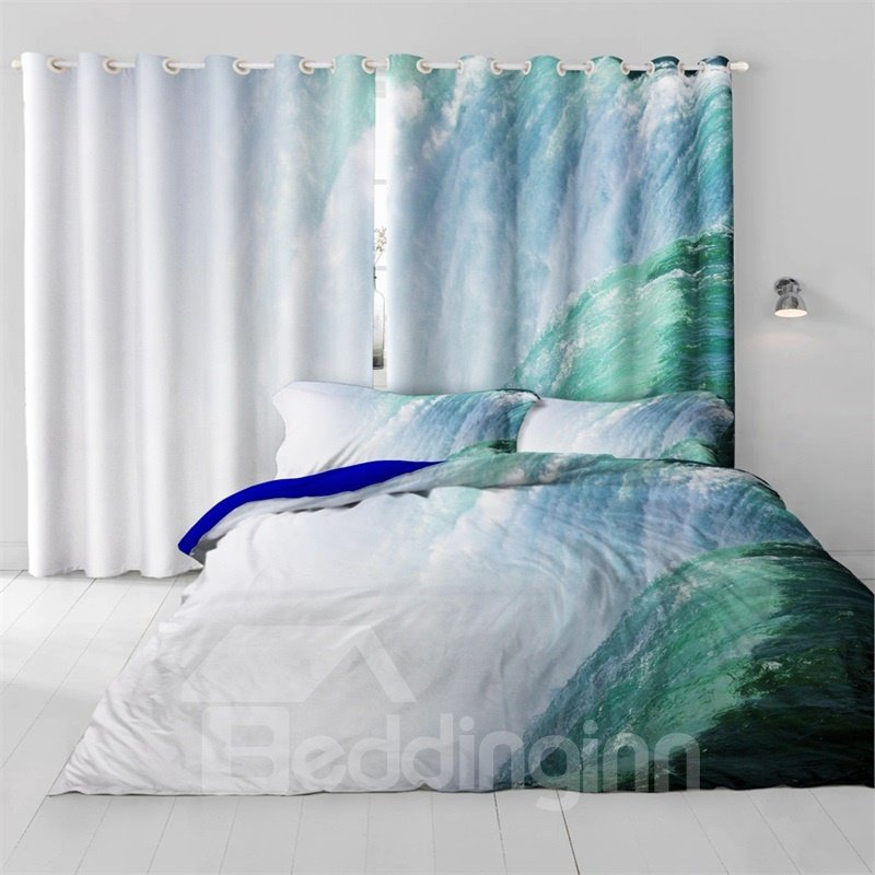 3D Rolling Waving Seas Printed Natural Power Printed 2 Panels Decorative Custom Curtain
