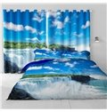 3D Blue Sky with White Clouds and Running Waterfalls Printed 2 Panels Blackout Curtain