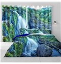 3D Thick Forest and Rolling Waterfalls Natural Scenery Two Panels Custom Curtain