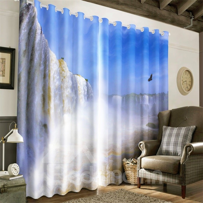 3D Flying Seagulls and Grand Waterfalls Printed Natural Style Decorative Custom Curtain
