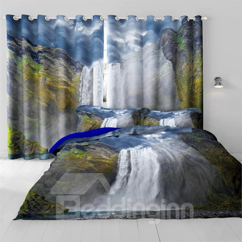 3D Steep Mountains and Rolling Waterfalls Printed 2 Panels Decorative and Blackout Curtain