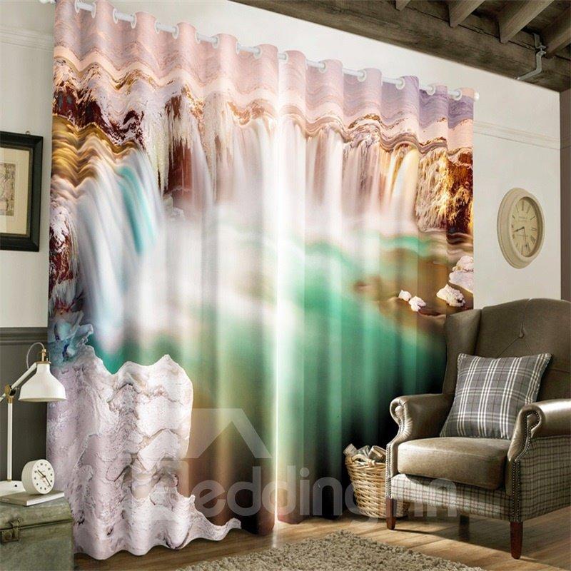 3D Broad Surging Waterfalls Printed Natural Scenery Room Darken Heat Insulated Window Drape