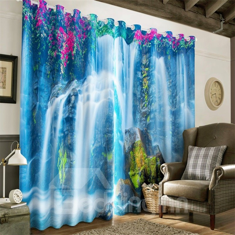 3D Bright Purple Flower and Running Waterfalls Printed Natural Scenery 2 Panels Curtain