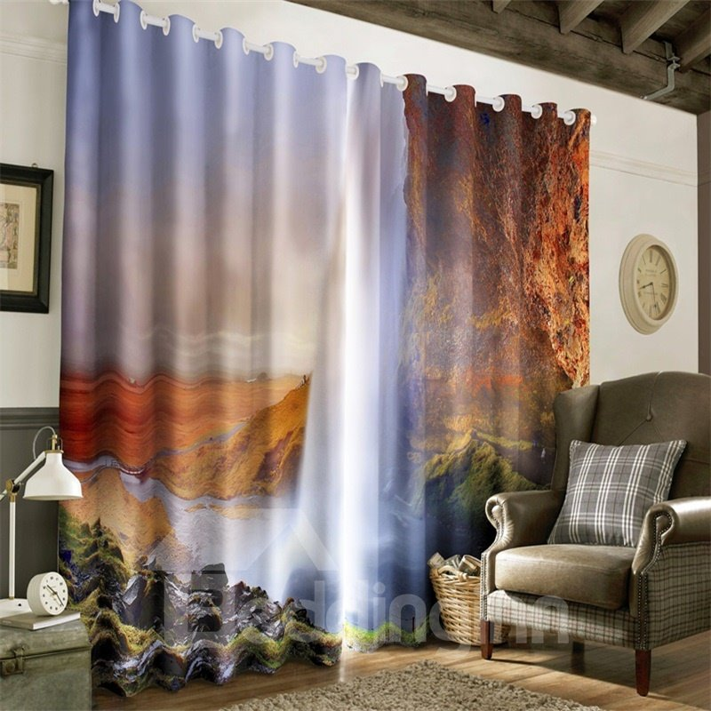 3D Straight Waterfalls Printed Natural Power 2 Panels Decorative and Blackout Curtain