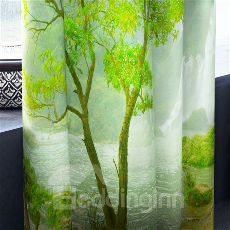 3D Lush Mountains and Limpid Waterfalls Printed Natural Beauty 2 Panels Grommet Top Curtain