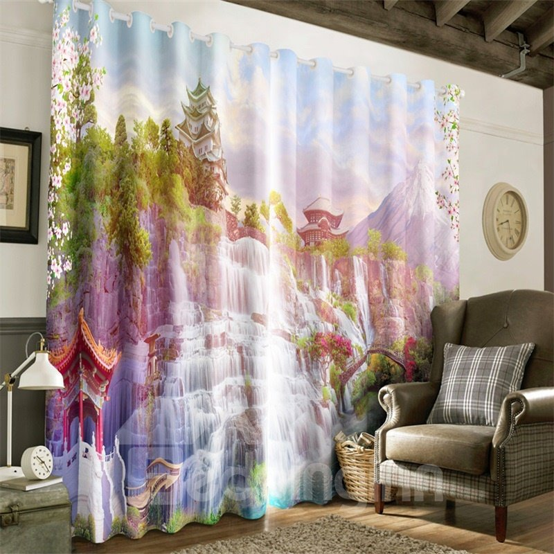3D Iceberg Snowy Water and Great Tower Printed 2 Panels Blackout Living Room Curtain