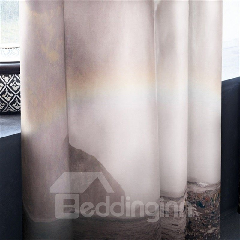 3D Flying Straight Waterfalls and Rainbow Printed Natural Beauty Thermal Insulation Drape