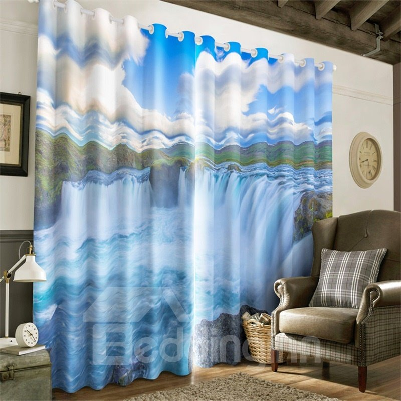 3D Rolling Waterfalls and White Clouds with Blue Sky Printed Living Room Window Drapes