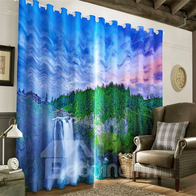 3D Green Forest and Rolling Waterfalls Printed Thermal Insulation Living Room Window Drapes