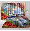 3D Limpid Waterfalls and Red Leaves Printed Living Room and Bedroom Window Drapes