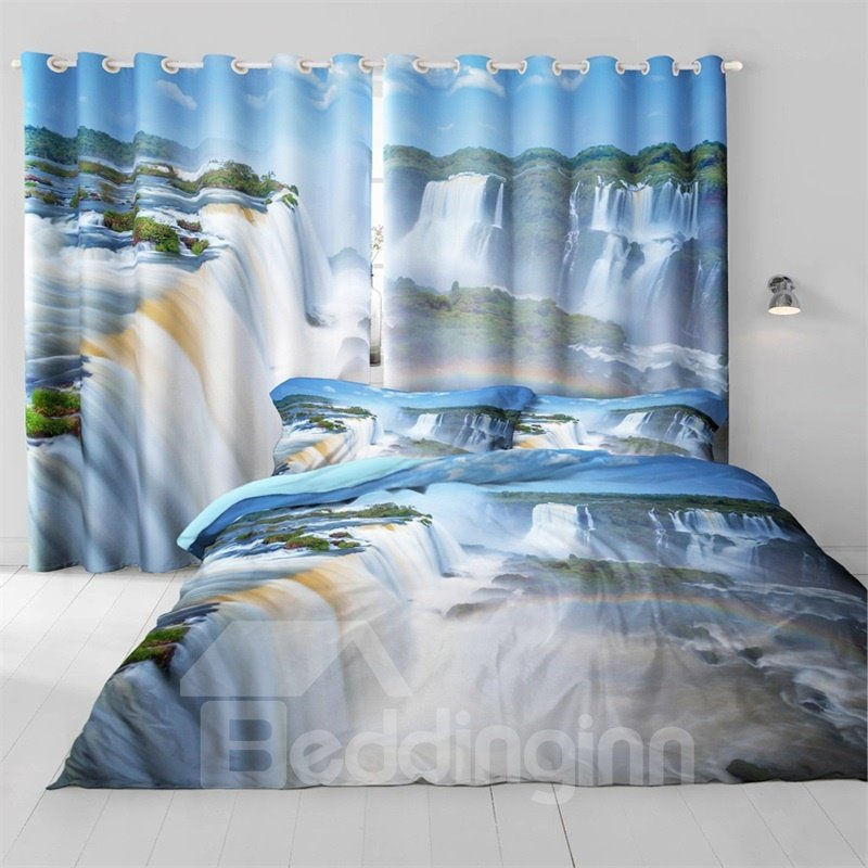 3D Rolling Waterfalls and Green Forest Printed 2 Panels Window Drapes