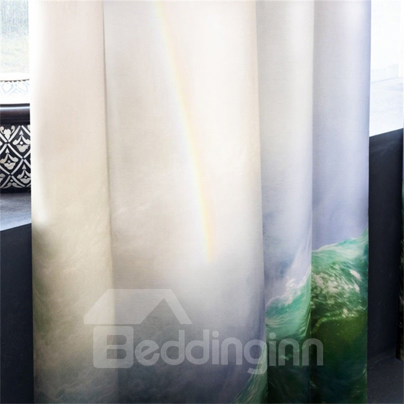 3D Impetuous Waterfalls and Bright Sunlight Printed 2 Pieces Decorative and Blackout Curtain