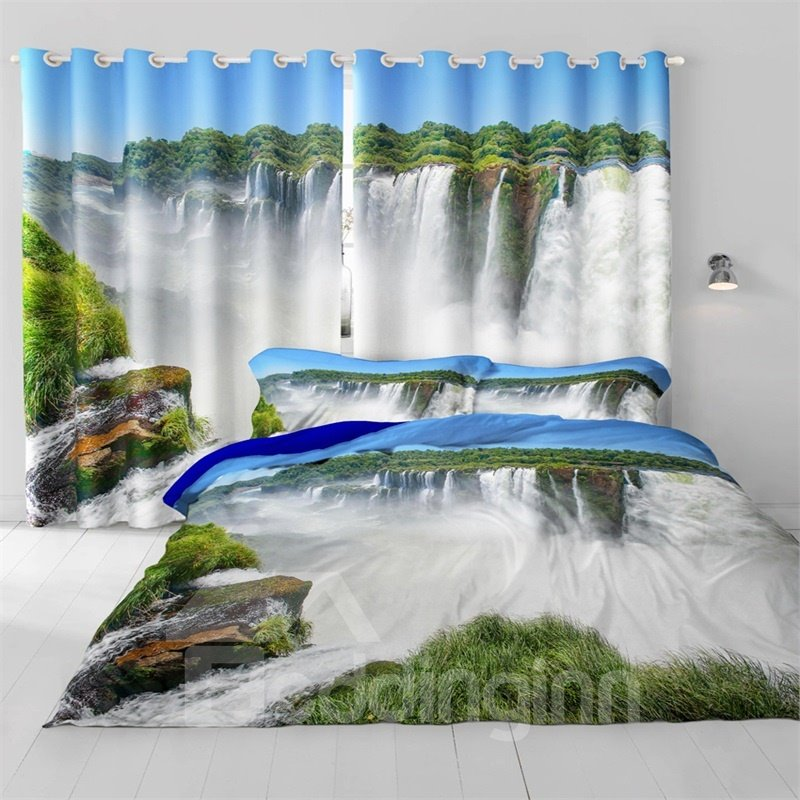 3D Rolling Waterfalls and Thick Green Forest Room Darken Heat Insulated Window Drapes
