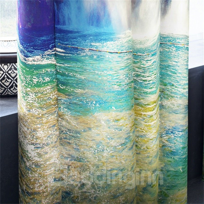 3D Torrential Waterfalls and Green Mountain and Clean Water Printed Great Natural Scenery Drapes