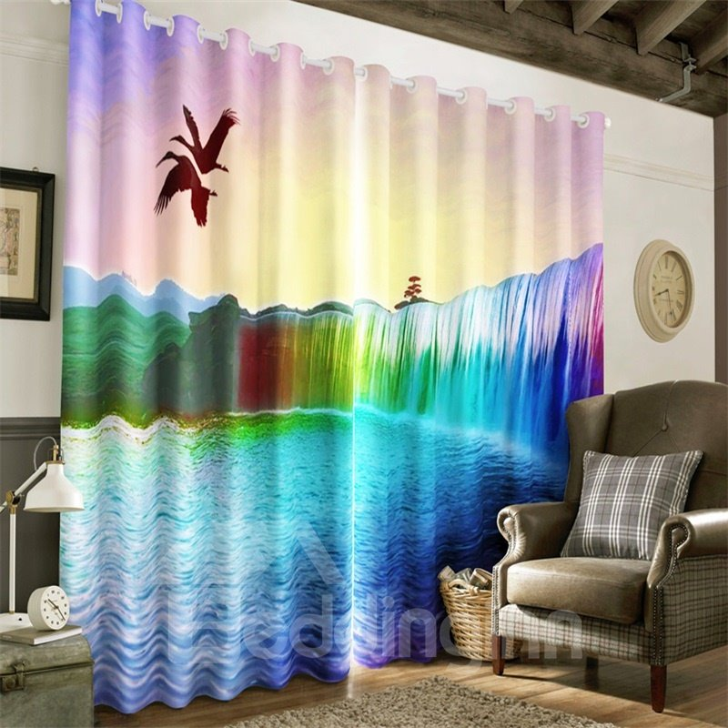 3D Flying Seagulls and Swift Waterfalls Printed Room Darken Heat Insulated Window Drapes