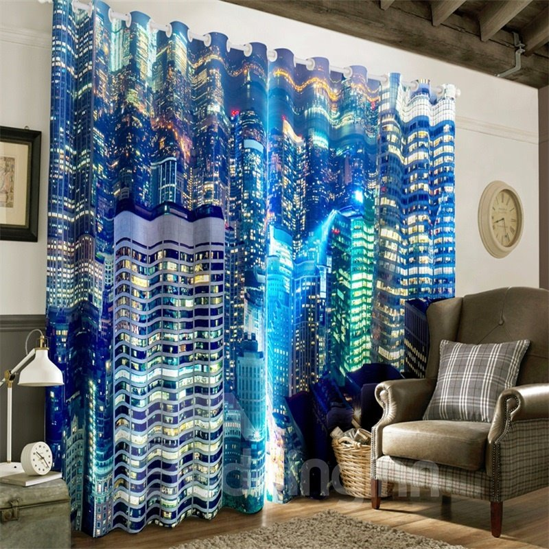 3D Wonderful Night City Scenery Printed 2 Panels Decorative and Heat Insulation Drapes