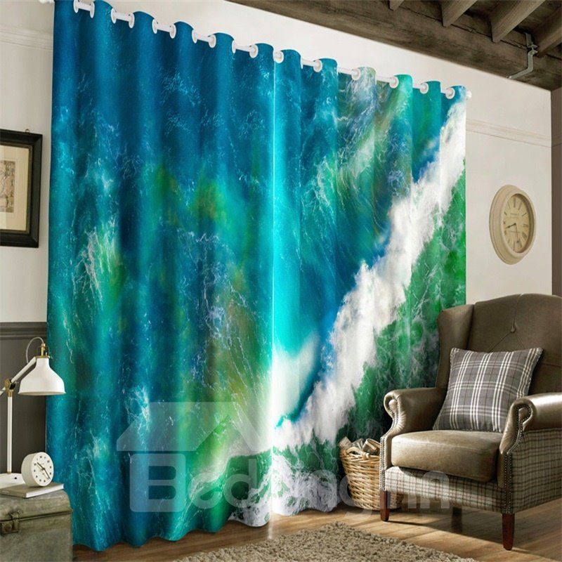 3D Dark Green Rolling Seas Printed Room Darken Heat Insulation Window Drapes