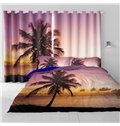 Palm Tree and Soft Sunset Printed Evening Beauty Heat Insulation Custom 3D Curtain