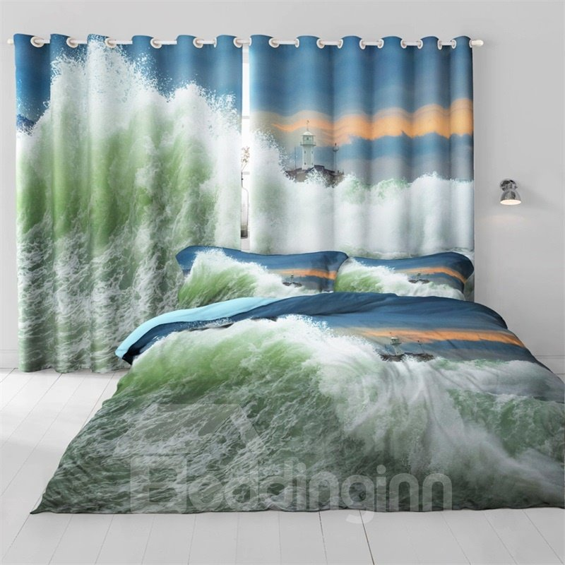 3D Rough Seas Printed Natural Power Living Room and Bedroom Blackout Curtain