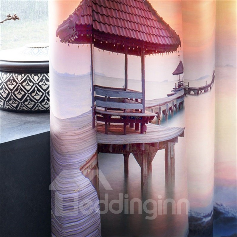 3D Cloud-Wrapped Mountains and Wooden Bridge Printed 2 Panels Living Room Window Drapes