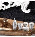 White Resin 5-Piece Baroque Style Durable Bathroom Ensemble