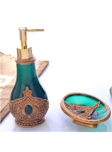 Green Lotion Bottle and Soapbox Morocco Style 2-Piece Resin Durable Bathroom Ensemble
