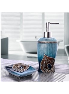 Lotion Bottle and Soapbox 2-Piece Resin Durable Bathroom Ensemble