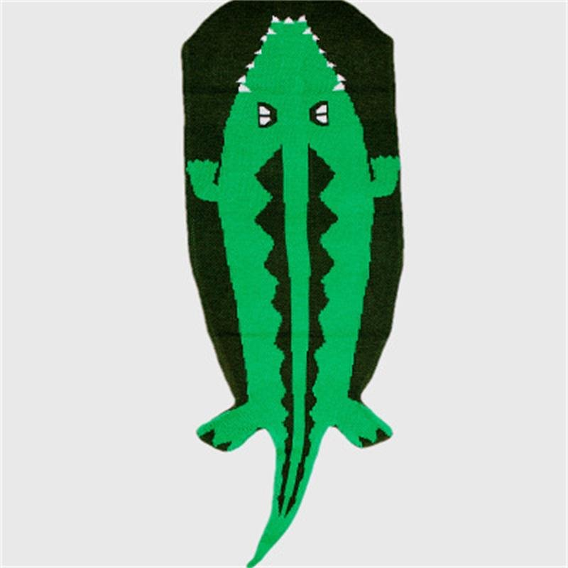 Crocodile Shape Acrylic Simple Style 1-Piece Green Baby Blanket