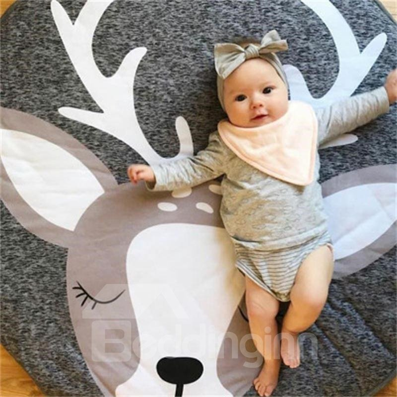 Deer Pattern Rounded Cotton Baby Play Floor Mat/Crawling Pad