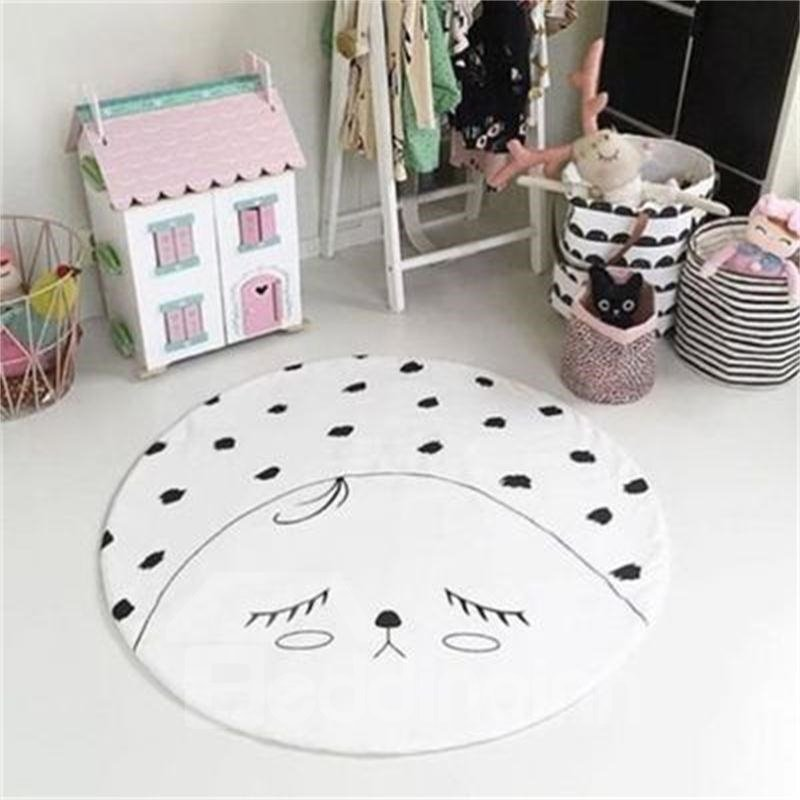 Smiling Face Rounded Cotton White Baby Play Floor Mat/Crawling Pad