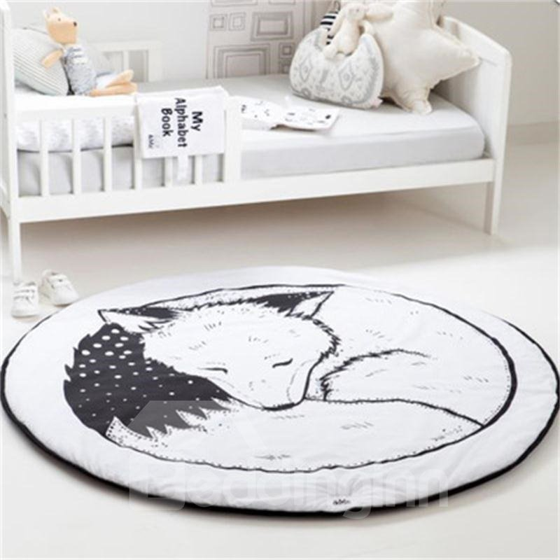 Fox Printed Rounded Cotton Baby Play Floor Mat/Crawling Pad