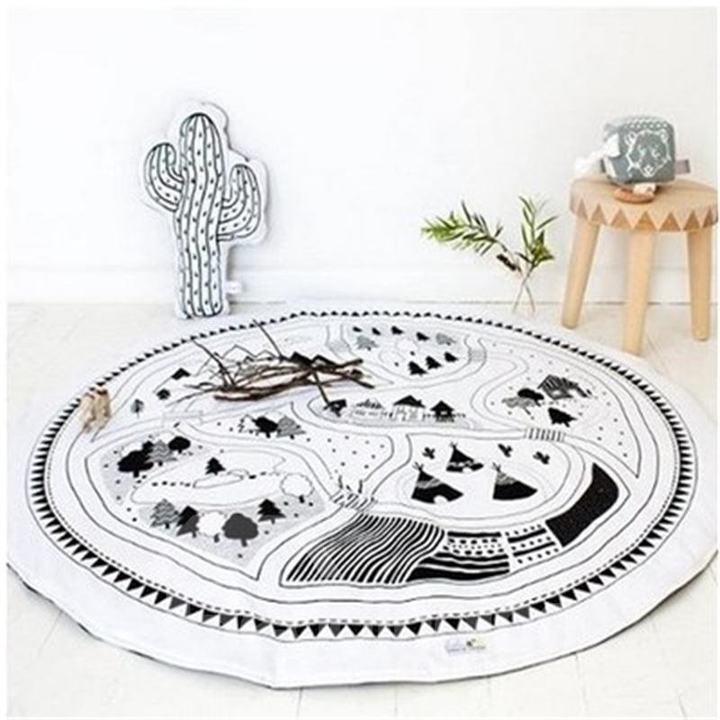 Little Village Rounded Cotton White Baby Play Floor Mat/Crawling Pad