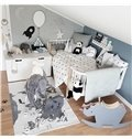 Map Printed Rectangular Cotton Baby Play Floor Mat/Crawling Pad