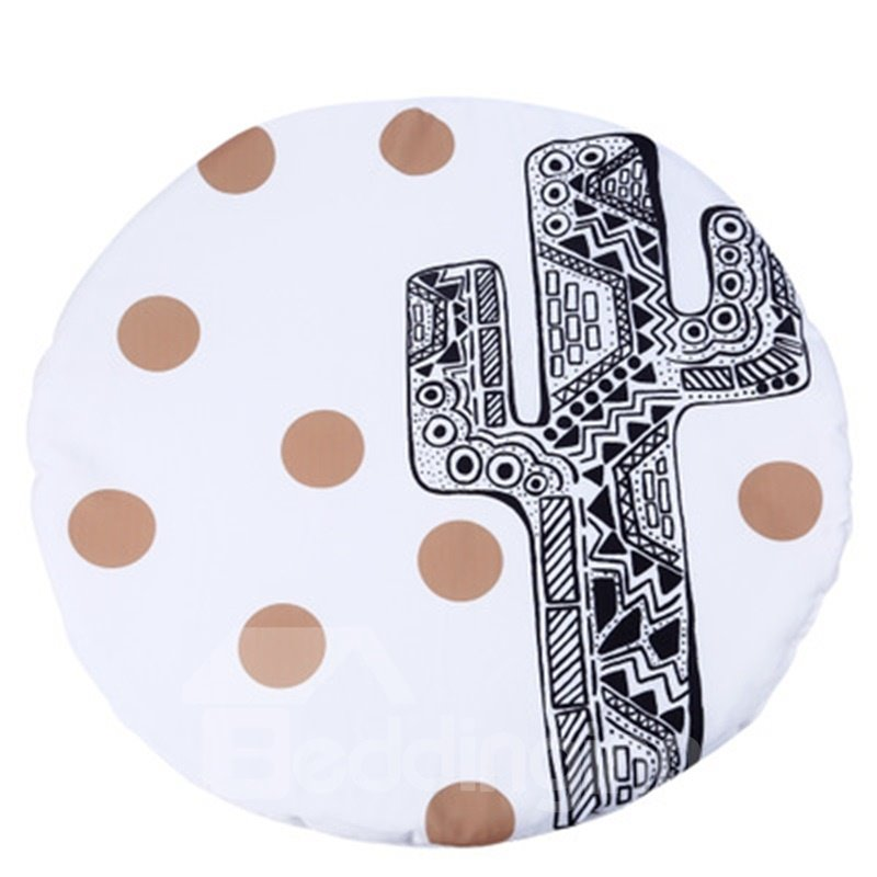 Cactus Printed Rounded Cotton White Baby Play Floor Mat/Crawling Pad