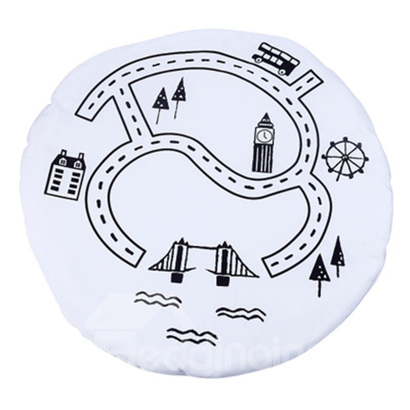 Village Pattern Rounded Cotton Baby Play Floor Mat/Crawling Pad
