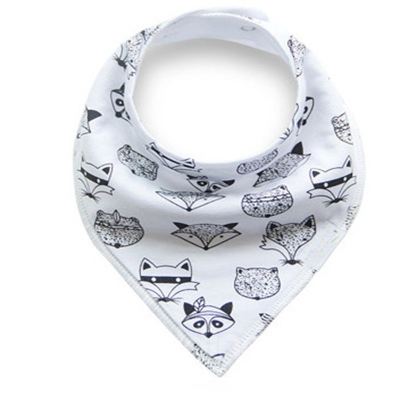 12*12in Fox Printed Simple Style Cotton White Baby Bib