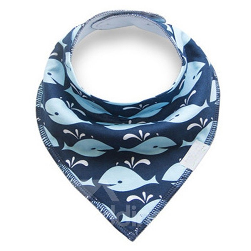 12*12in Whales Pattern Simple Style Cotton Blue Baby Bib