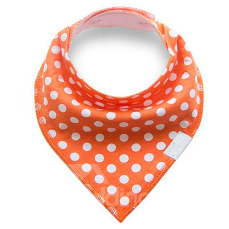 12*12in Polka Dots Pattern Simple Style Cotton Orange Baby Bib
