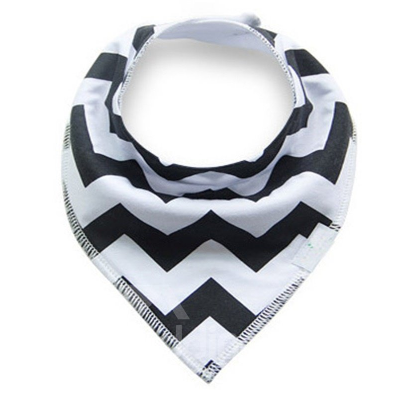 12*12in Black Waves Pattern Simple Style Cotton Baby Bib