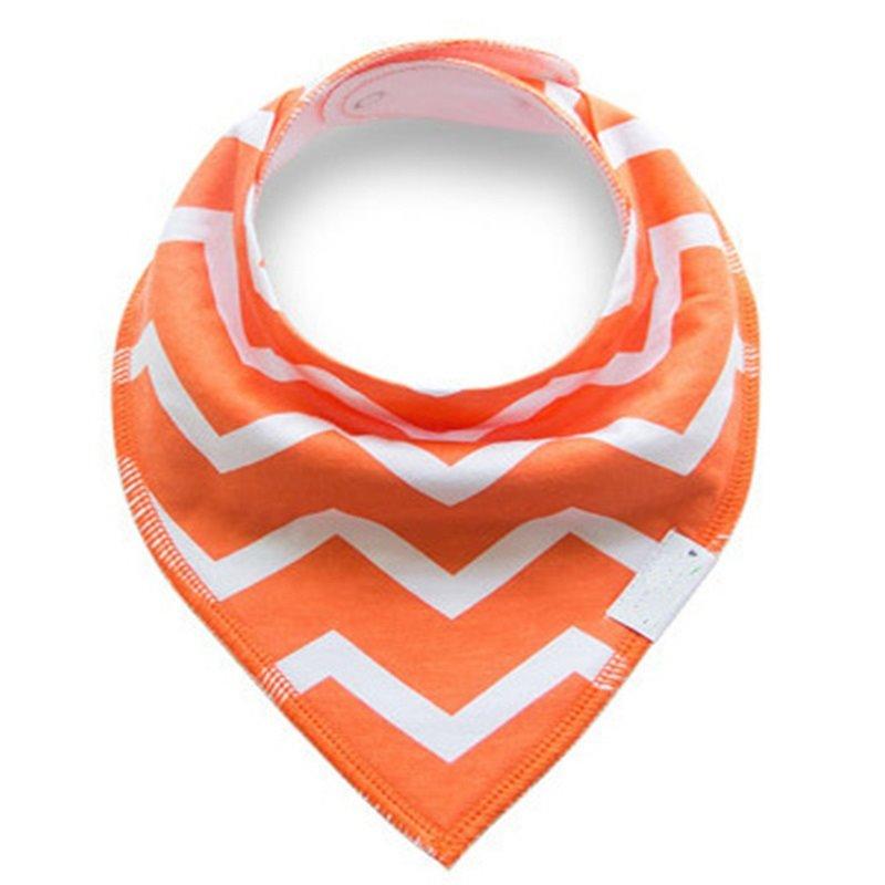 12*12in Orange Waves Pattern Simple Style Cotton Baby Bib