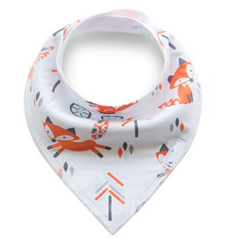 12*12in Orange Fox Printed Simple Style Cotton White Baby Bib