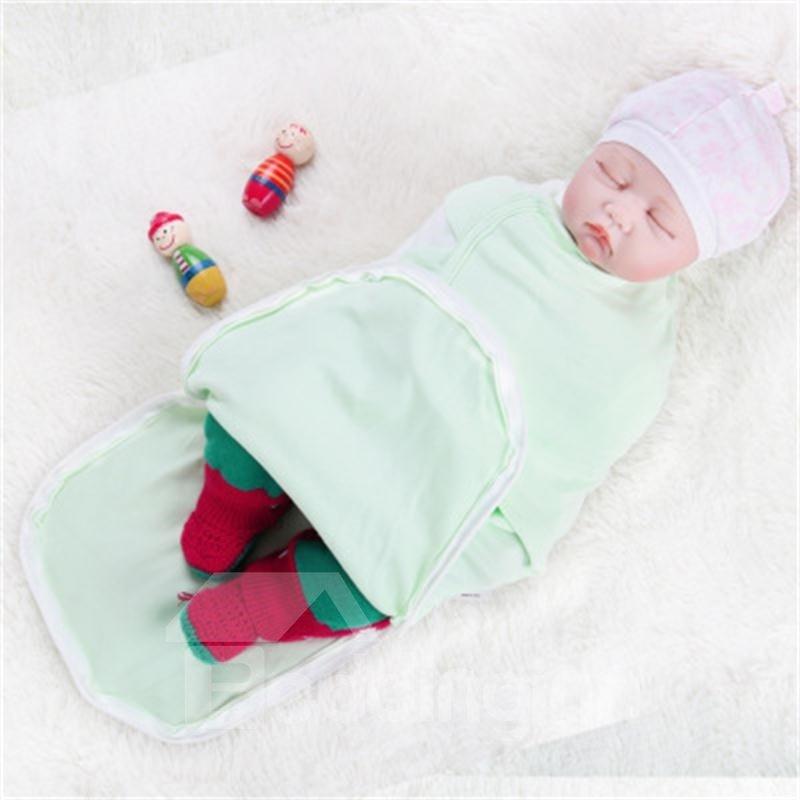 Zipper Cotton 1-Piece Light Green Baby Sleeping Bag
